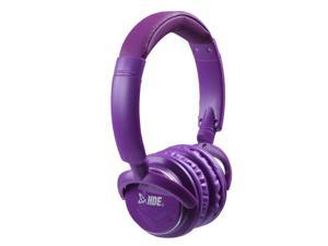 On Ear Bluetooth Studio Headphones Wireless Music Rechargeable With Hands Free Microphone - Purple