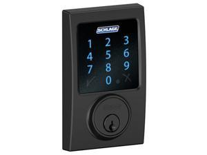Schlage Connect Z-Wave Deadbolt with Built-In Alarm, Century Style, Matte Black (BE469NX CEN 622)