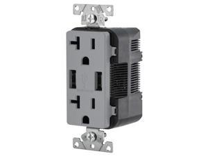 Leviton Combination Duplex Receptacle & USB Charger, 20A, Gray (T5832-GY)