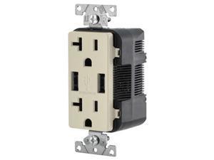 Leviton Combination Duplex Receptacle & USB Charger, 20A, Light Almond (T5832-T)