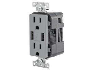 Leviton Combination Duplex Receptacle & USB Charger, 15A, Gray (T5632-GY)