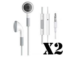 Lot of 2 Original OEM Apple iPhone 3GS 4 4S 5 iPad 1 2 3 4 Mini iPod Touch 2G 3G 4G 5G iPod Nano 4G 5G 6G 7G Headset Earphones Headphones w/ Remote Mic (Refurbished)
