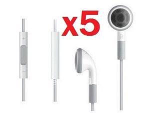 Lot of 5 Original OEM Apple iPhone 3GS 4 4S 5 iPad 1 2 3 4 Mini iPod Touch 2G 3G 4G 5G iPod Nano 4G 5G 6G 7G Headset Earphones Headphones w/ Remote Mic (Refurbished)