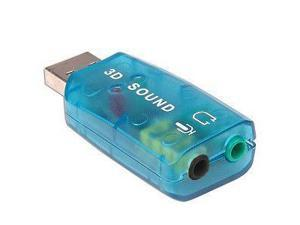 USB EXTERNAL 3D SOUND CARD 3D 5.1 AUDIO ADAPTER for PC - Blue