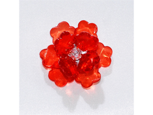 Acrylic Flowers - Rhinestone Center & Frayed Edge 1 3/4 inch Party decoration 6 pcs - Color: Red