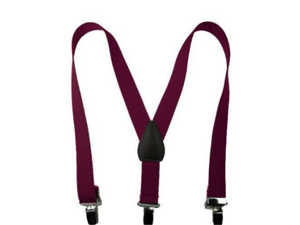 "Solid Color Kids Elastic Suspenders - Burgandy (22"")"