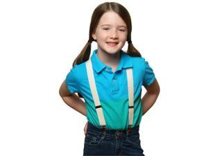 "Solid Color Kids Elastic Suspenders - Ivory (30"")"