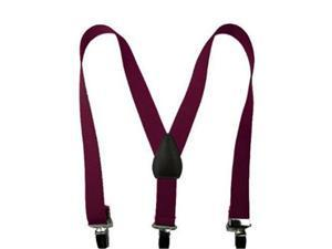 "Solid Color Kids Elastic Suspenders - Burgandy (26"")"