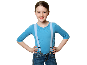 "Solid Color Kids Elastic Suspenders - Light Blue (30"")"