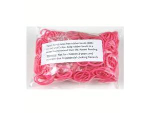 Rainbow Loom 600 Pc Rubber Band Refill w/ 25 C-clips (Pink)