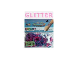 Rubbzy 100 pc Special Edition Tie Dye/Glitter Rubber Bands w/ 4 Connectors (#135)