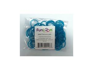 FunLoom 100 Pc Rubber Bands Refills with Super C-clips (Turquoise)