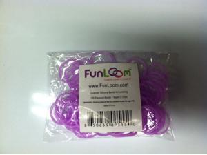 FunLoom 100 Pc Rubber Bands Refills with Super C-clips (Lavender)