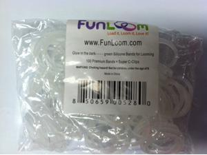 FunLoom 100 Pc Rubber Bands Refills with Super C-clips (Glow in the dark GREEN)
