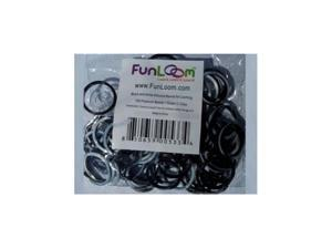 Funloom 100 Pc Tie Dye Bands with Super C-clips (Black/White)