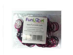 Funloom 100 Pc Tie Dye Bands with Super C-clips- Pink/Black