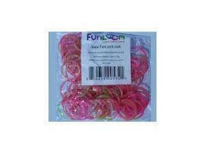 Funloom 100 Pc Tie Dye Bands with Super C-clips- Pink/Green