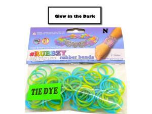 Rubbzy 100 pc Tie Dye GLOW IN THE DARK Rubber Bands w/ 4 Connectors For all Bracelet Looms (#944 Light Green and Blue)