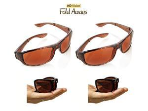 HD Vision Fold Aways High Definition Sunglasses Deluxe- 2 Pack (Tortoise)