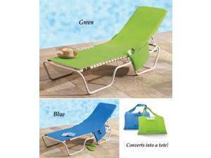 Beach Lounge Chair Cover Towel With Fitted Pocket Top and Side Pockets