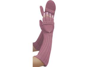 Lady Elegance Extra Long Convertible Mittens- Dusty Rose (Pink)