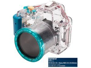 Kamera Underwater Diving Camera Waterproof Case Housing Shell For Sony NEX-C3 (18-55mm) Blue