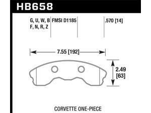 Hawk Performance HB658R.570 Disc Brake Pad 06-13 Corvette