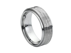 Tungsten Carbide Stepped Down Edge Hammered Center 9mm Wedding Band Ring