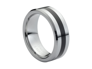 Tungsten Carbide High Polished Black Rubber Inlaid Center 8mm Wedding Band Ring
