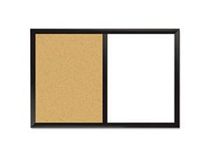 Combo Magnetic Dry Erase & Bulletin Board, 24 x 36, White/Cork, Black