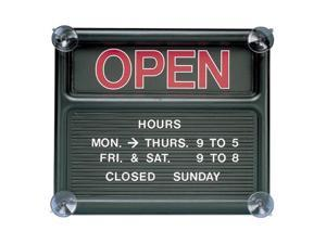 "Quartet 81301 Open/Closed Sign ""Open/Closed"" Preprinted - 14"" Width x 12"" Height - Plastic - Black, White"
