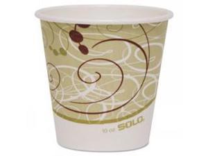 Paper Hot Cup, 10 oz., Polylined, Symphony Design, Beige/White