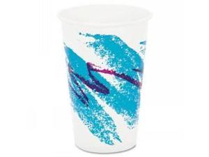 Jazz Waxed Paper Cold Cups, 16 oz, Tide Design