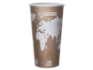Eco-Products World Art Renewable Resource Compostable Hot Drink Cups, 20 oz, Tan, 50/Pack