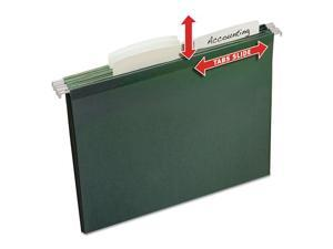 Slide & Lift Tab Hanging Folders, Letter, 1/3 Cut, Green, 12/Pack