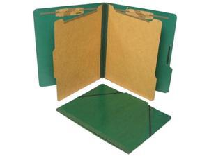 Classification Folios with Fastener, Letter, Six-Section, Forest Green