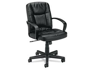 VL171 Executive Mid-Back Chair, Black Leather