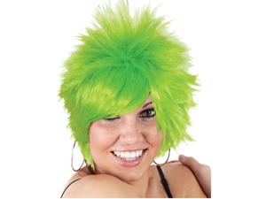 Child Green Short Spiked Punk Mod Pixie St Patricks Day Costume Wig