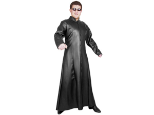 Mens XS Teen 34-36 Street Fighter Black Matrix Man Long Fitted Trench Coat