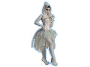 Women's Sexy White Ghost Costume Bustle Tu Tu Burlesque Tutu Skirt