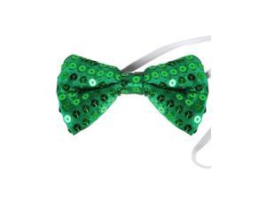 Green Sequin Bowtie Bow Tie for Clown or Leprechaun Costume