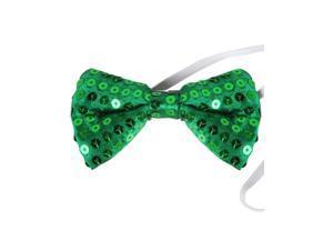 Green Sequin Bowtie Bow Tie for Clown or Leprechaun Costume