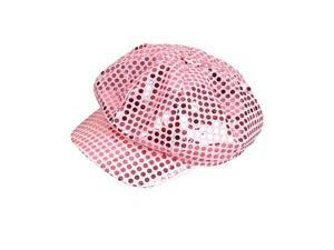 Funky Retro Pink Costume Sequin Newsboy Baseball Hat