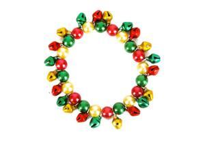 New Red Green & Gold Faux-Pearl Jingle Bells Bracelet