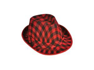 Deluxe Red and Black Plaid Pattern Fedora Hat