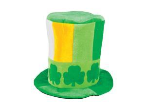 St Patricks Day Green White and Orange Shamrock Leprechaun Costume Top Hat