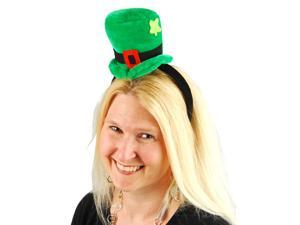 Green St. Patrick's Day Shamrock Sequin Mini Top Hat On Head Band