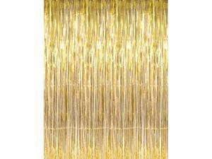 3' x 8' Gold Tinsel Foil Fringe Door Window Curtain Party Decoration