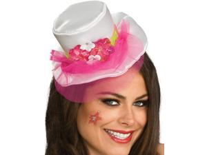 Women's White Mini Top Hat With Pink Veil and Flowers