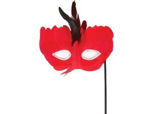 Red & Black Masquerade Costume Accessory Feather Mask